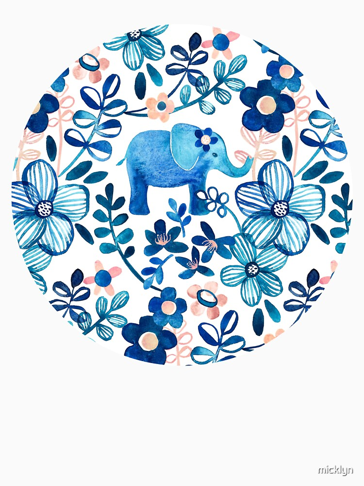 Blush Pink, White and Blue Elephant and Floral Watercolor Pattern by micklyn