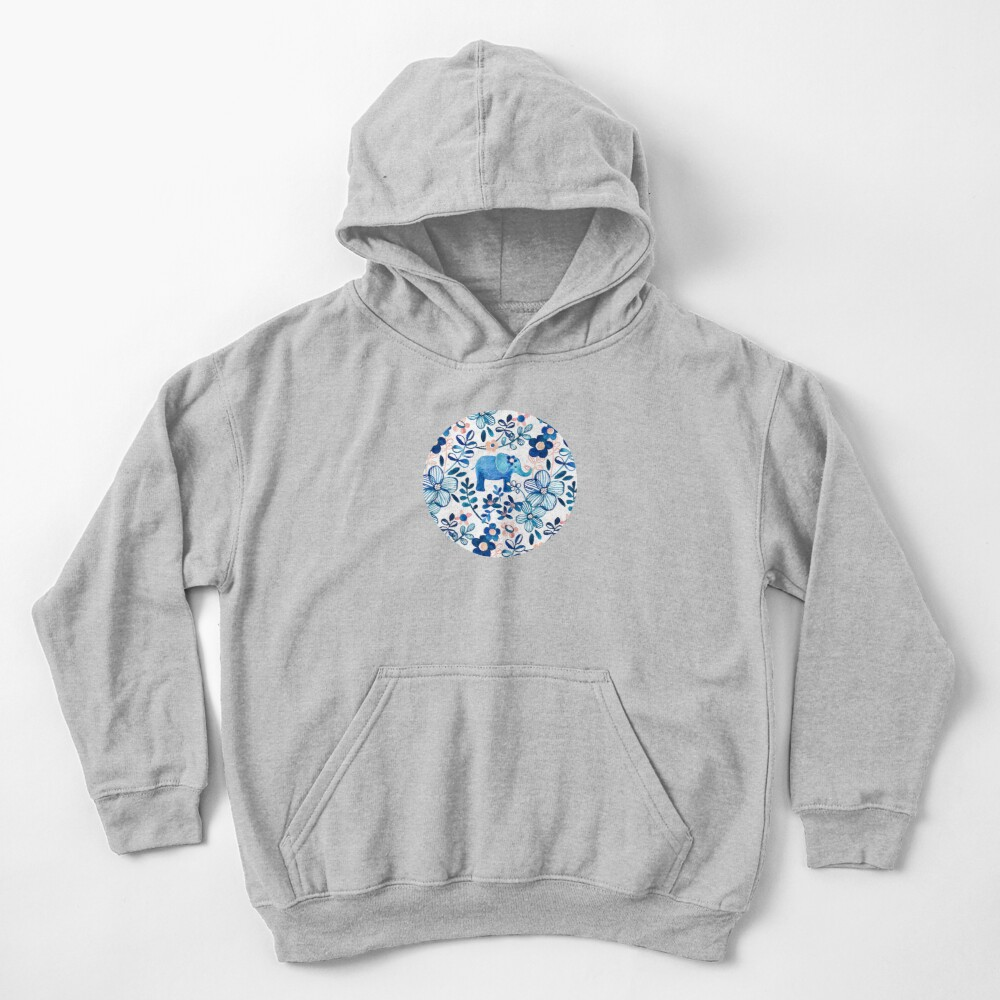 Blush Pink, White and Blue Elephant and Floral Watercolor Pattern Kids Pullover Hoodie