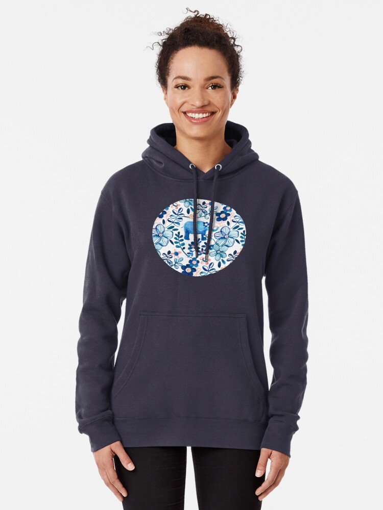 Alternate view of Blush Pink, White and Blue Elephant and Floral Watercolor Pattern Pullover Hoodie