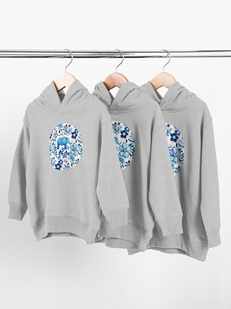 Alternative Ansicht von Rosa, weißer und blauer Elefant und Blumenaquarell-Muster erröten Kleinkind Hoodie