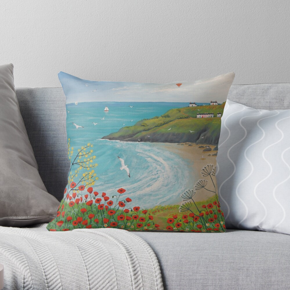 The Path to Poppy Bay Throw Pillow