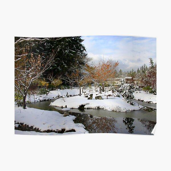 Mayne Island Japanese Garden in snow  Poster