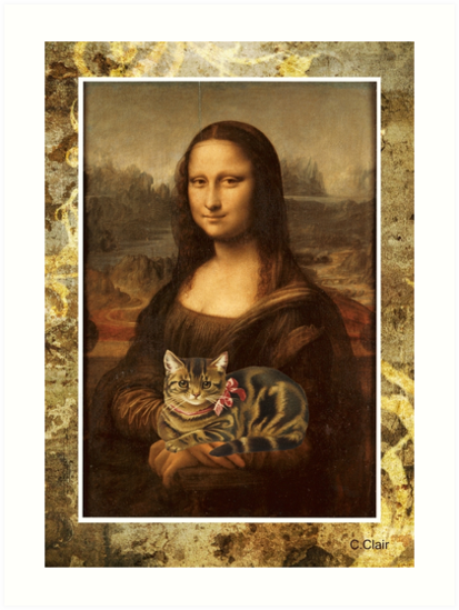 Quot Mona Lisa Holding Cat Quot Art Print By Designsbycclair