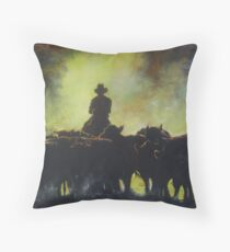 "Droving ""the long paddock"" Throw Pillow"