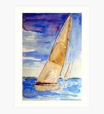 Racing the Wind - watercolour on paper Art Print