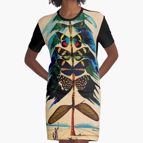 BUTTERFLY TREE : Vintage Abstract Dali Print Graphic T-Shirt Dress