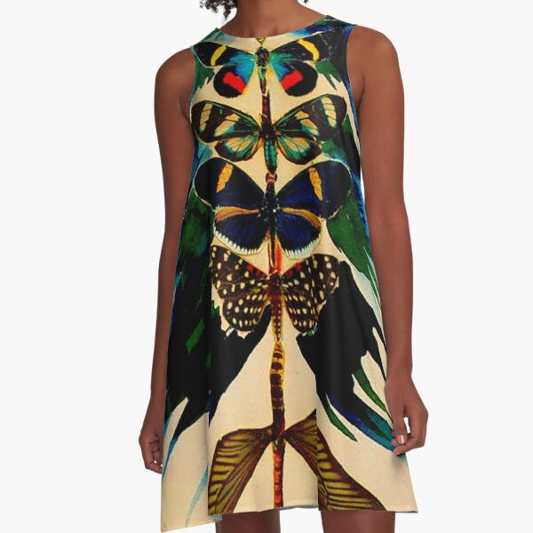 BUTTERFLY TREE : Vintage Abstract Dali Print A-Line Dress