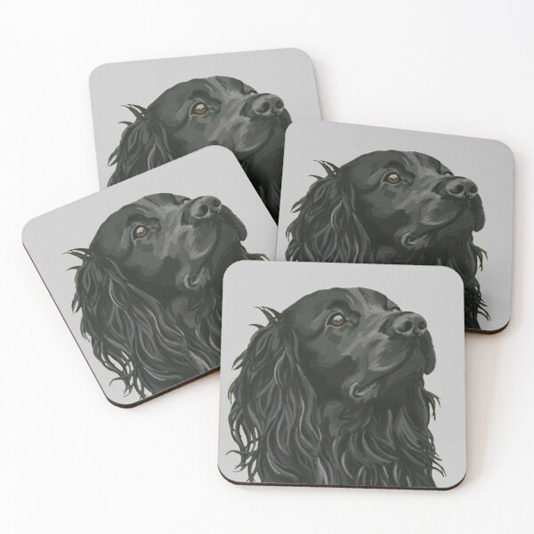 Black cocker spaniel by Julie Jones Coasters (Set of 4)