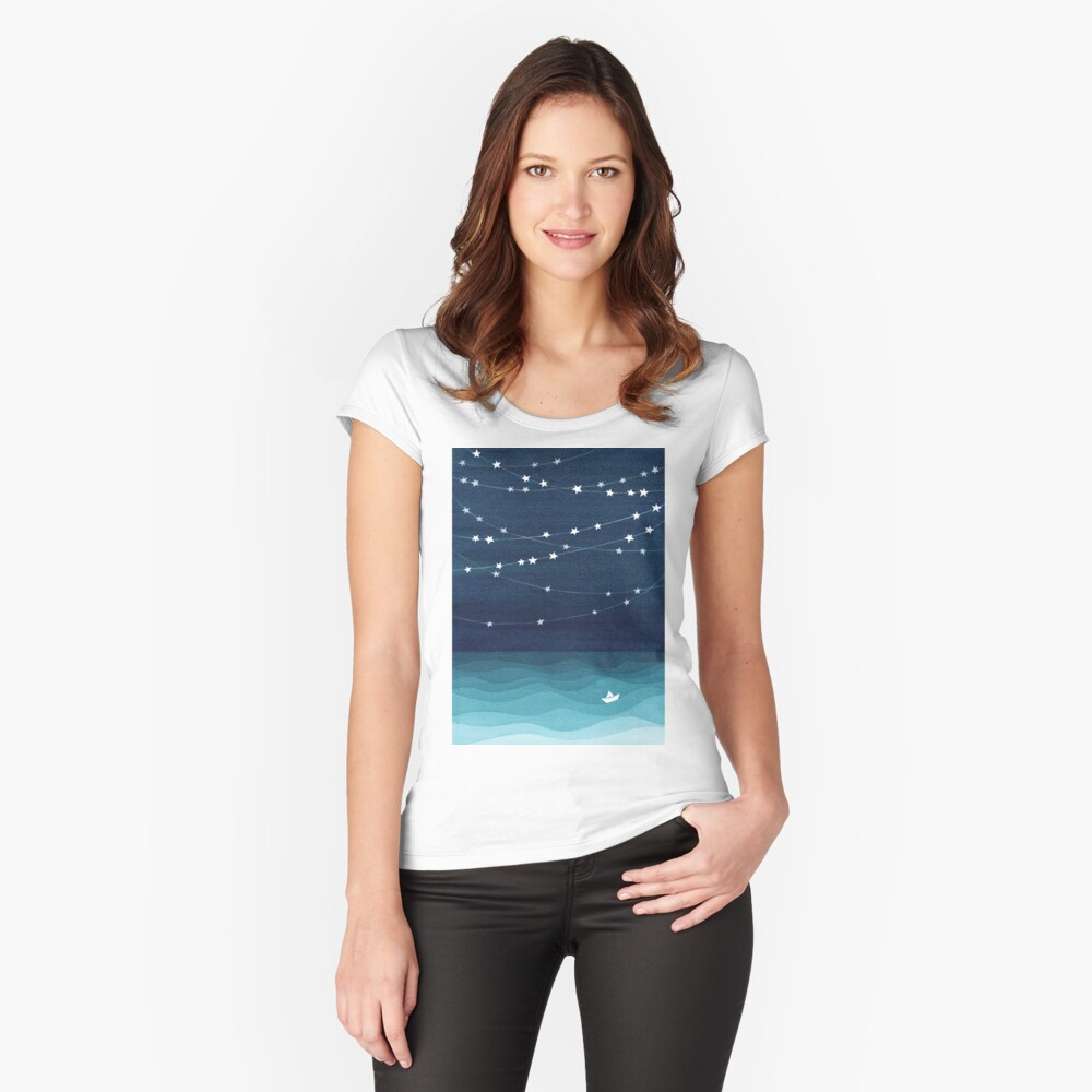 Garland of stars, teal ocean Fitted Scoop T-Shirt
