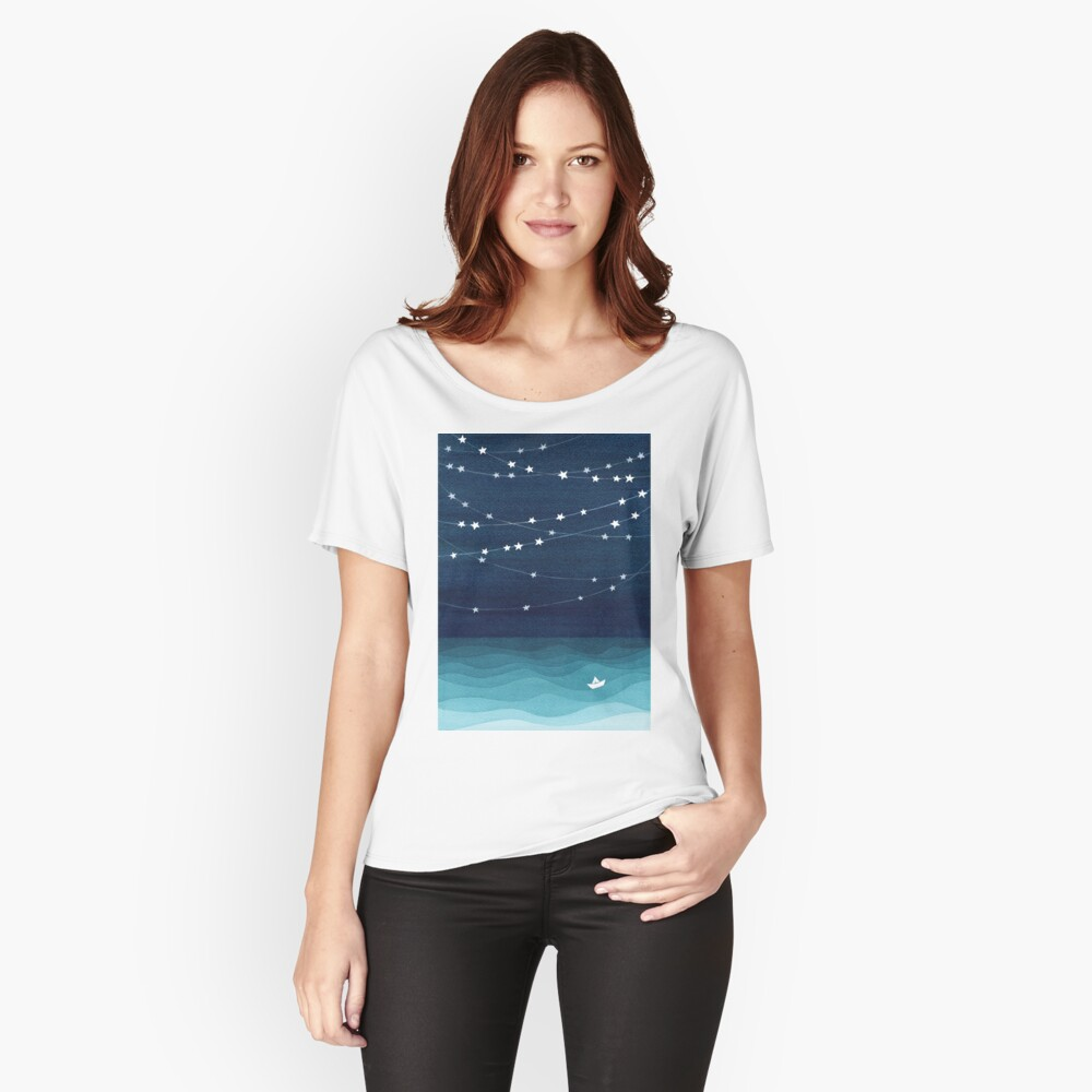 Garland of stars, teal ocean Relaxed Fit T-Shirt