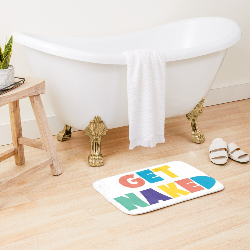 Get Naked Colorful Fun Cool Graphic Typography Bath Mat