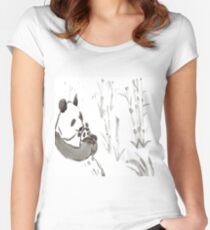Panda Sumi-e  Women's Fitted Scoop T-Shirt