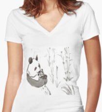 Panda Sumi-e  Women's Fitted V-Neck T-Shirt
