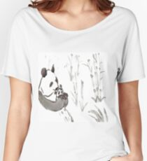 Panda Sumi-e  Women's Relaxed Fit T-Shirt