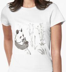 Panda Sumi-e  Women's Fitted T-Shirt