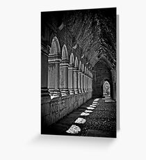 Quin Abbey B&W, County Clare, Ireland Greeting Card
