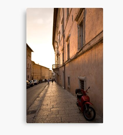Moped in street at sundown in Assisi Canvas Print