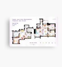 Floorplan of Friends Apartment (Old version) Canvas Print