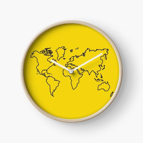 World Map Outline Clock
