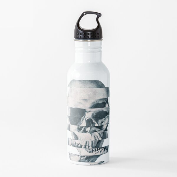Glitch Skull Mono Water Bottle