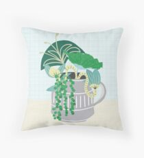 Blue and Green Floral Bouquet in Pottery Throw Pillow