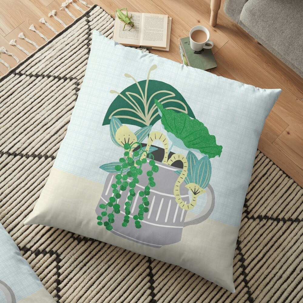 Blue and Green Floral Bouquet in Pottery Floor Pillow