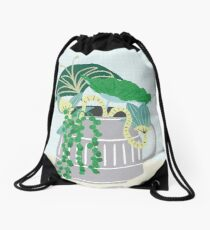 Blue and Green Floral Bouquet in Pottery Drawstring Bag