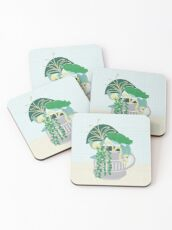 Blue and Green Floral Bouquet in Pottery Coasters