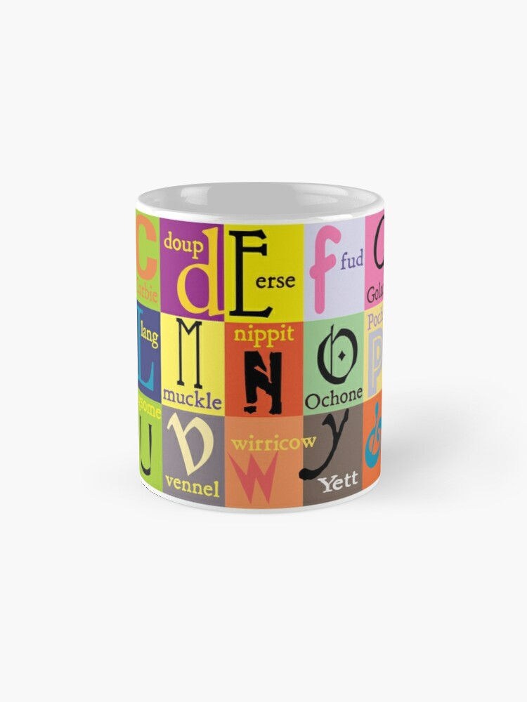 Alternate view of Scottish Words Alphabet Mug