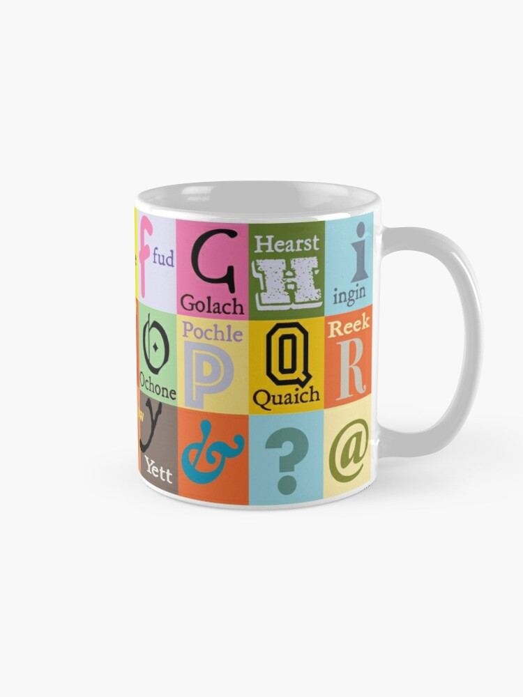 Alternate view of Scottish Words Alphabet Mug