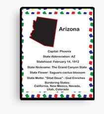 Arizona State Fact Poster Canvas Print