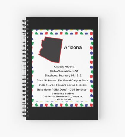 Arizona State Fact Poster Spiral Notebook