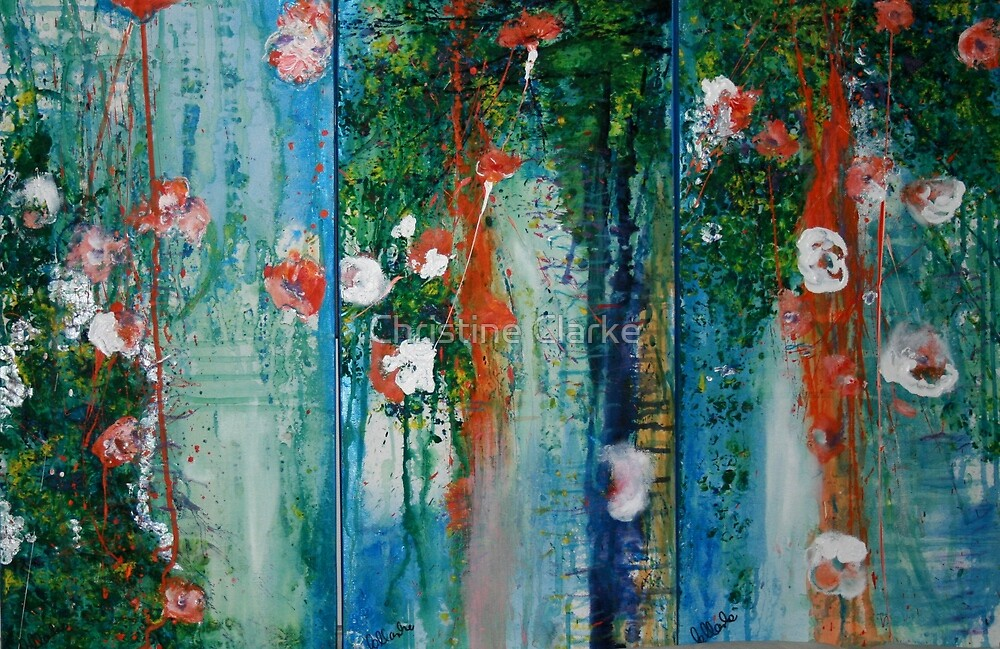 Waterlillies and Willows Triptych by Christine Clarke