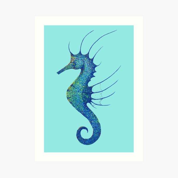 Aqua Seahorse Art Print