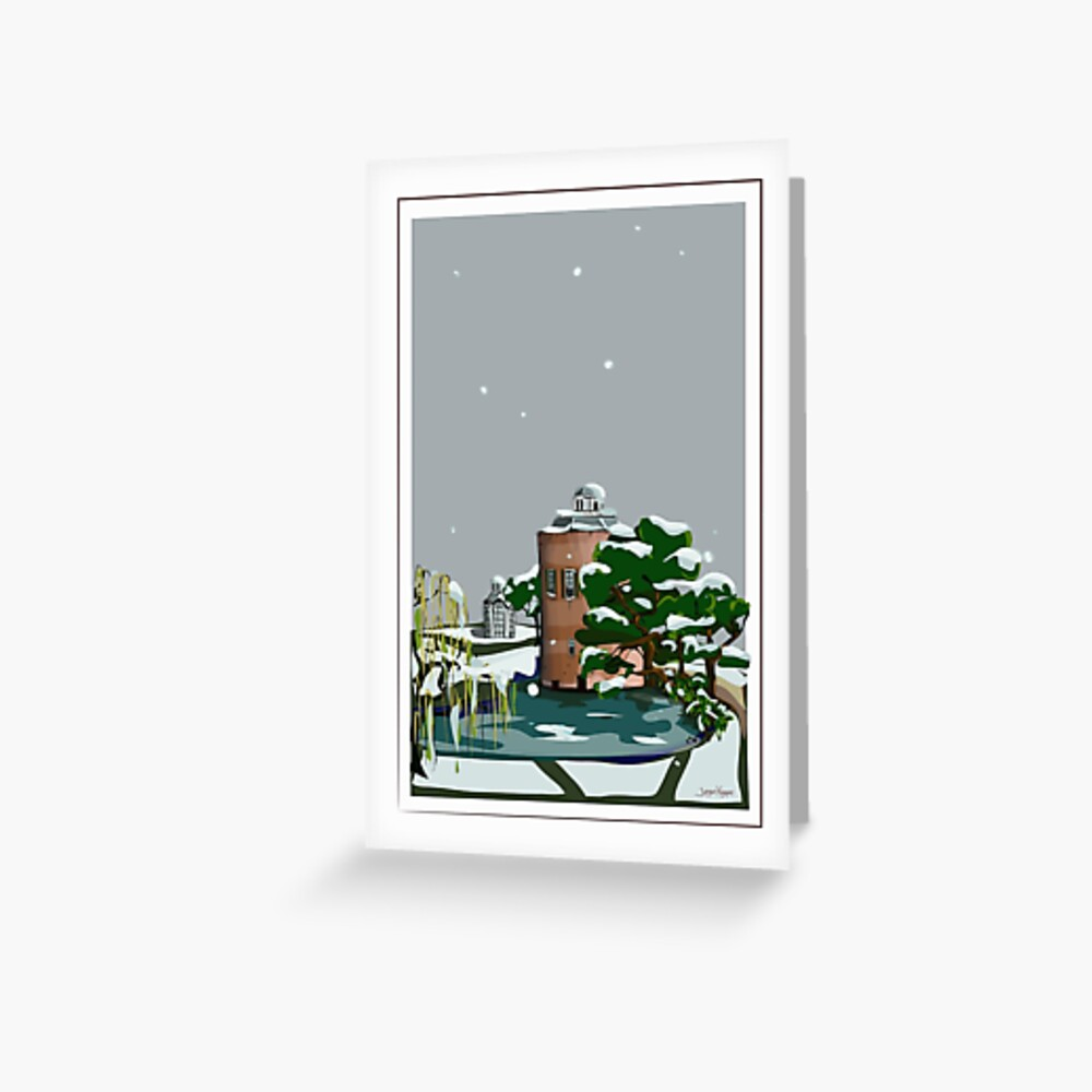 Castle tower in snow Greeting Card
