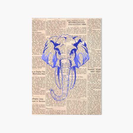 Blue elephant news Art Board Print