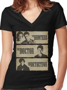 The Hunters, The Doctor and The Detective  Women's Fitted V-Neck T-Shirt