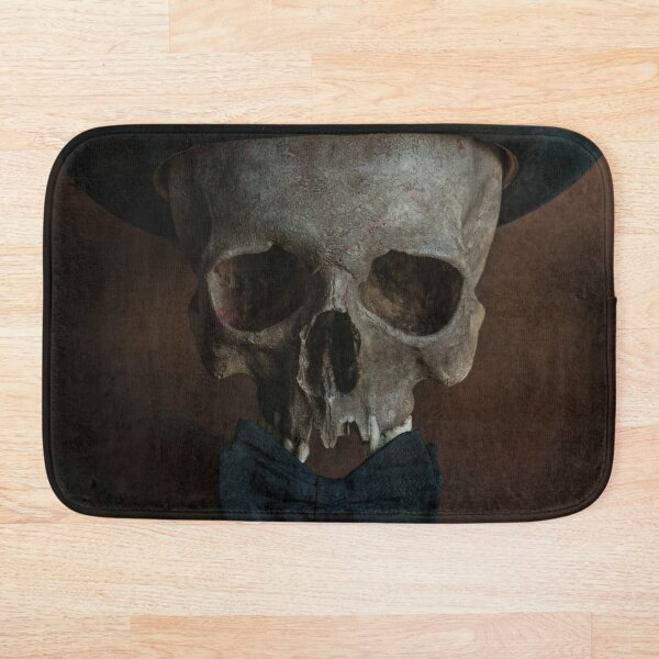 Still life with skull and top hat Bath Mat