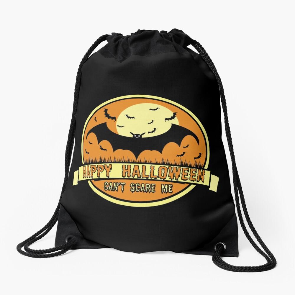 Can't Scare Me October Moonlit Spooky Vampire Bat. Drawstring Bag