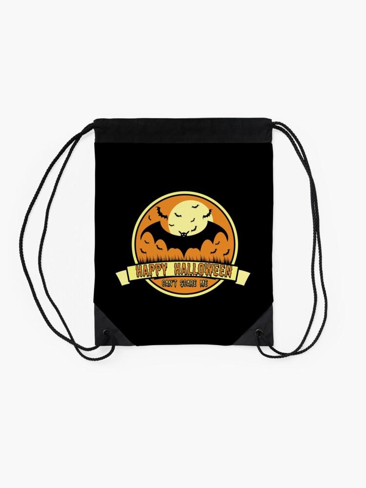 Alternate view of Can't Scare Me October Moonlit Spooky Vampire Bat. Drawstring Bag