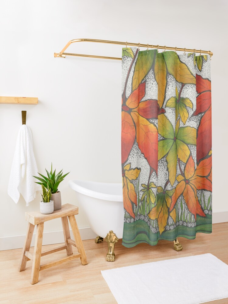 Alternate view of River bank Shower Curtain