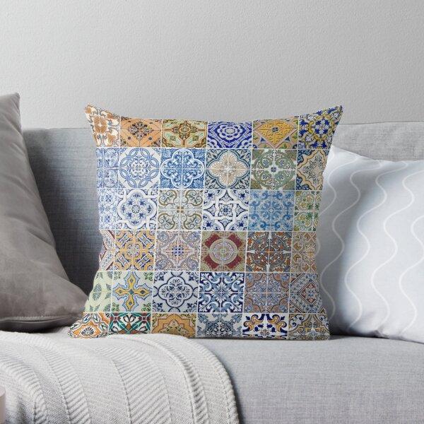 Set of 48 ceramic tiles patterns Throw Pillow