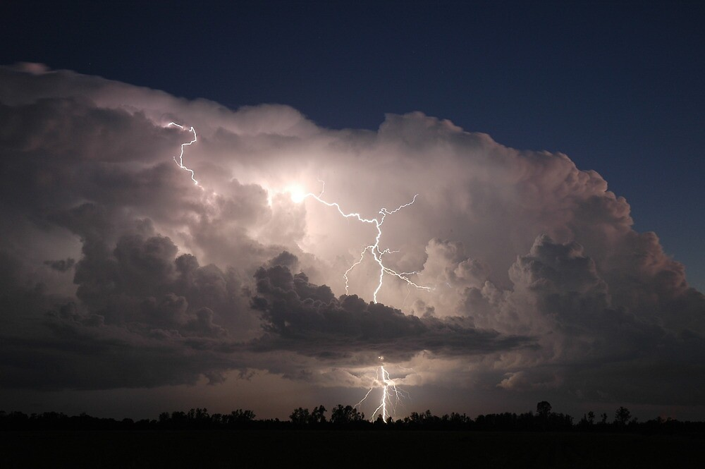 Thunderstorm with Twilight Lightning by Michael Bath