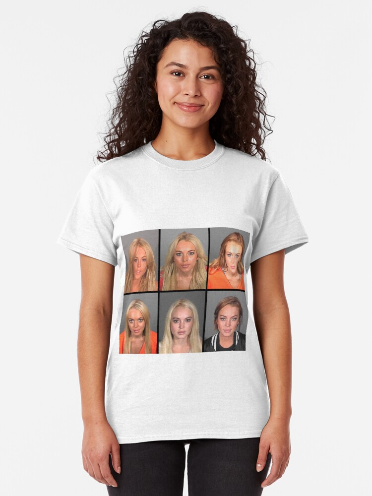 Vista alternativa de Camiseta clásica LINDSAY LOHAN MUGSHOTS