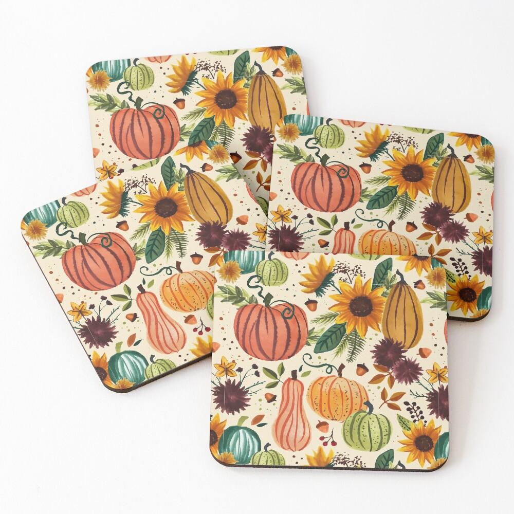 Pumpkin Watercolor Pattern Coasters (Set of 4)