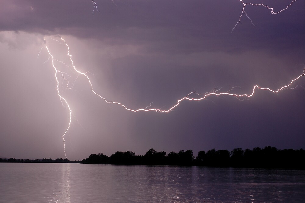 Lightning over the Clarence River by Michael Bath