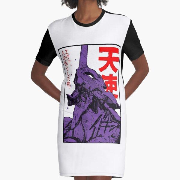 Evangelion Roboter Kanji T-Shirt Kleid