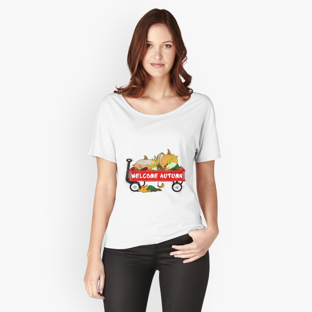 Welcome Autumn Digital Watercolor Relaxed Fit T-Shirt
