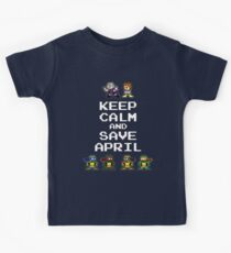 8-Bit TMNT- Keep Calm and Save April Kids Tee