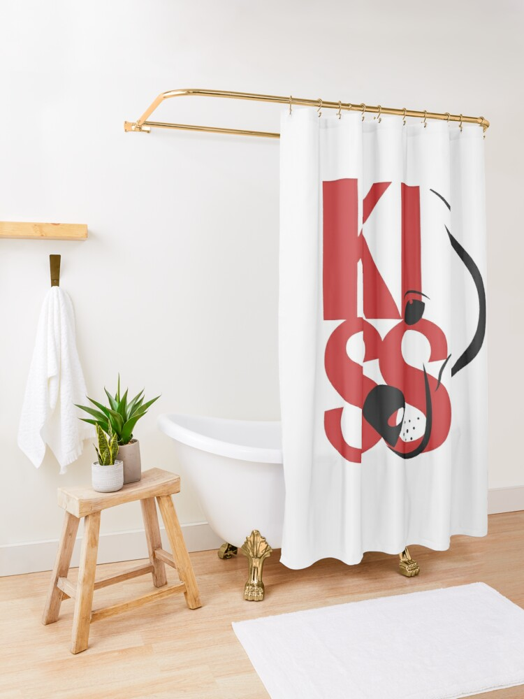 Alternate view of Square Logo Red Shower Curtain